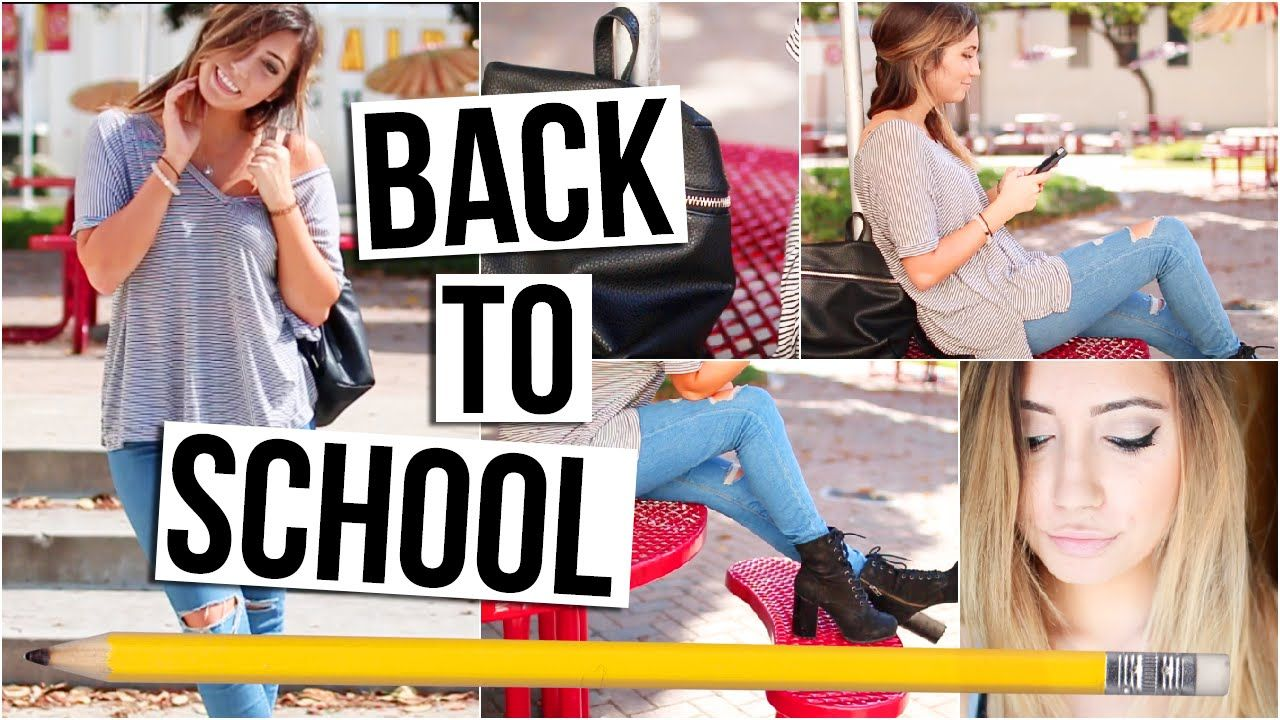 BACK TO SCHOOL ROUTINE Makeup, Hair, Outfit Idea! Back