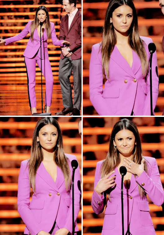 Nina Dobrev on Stage presenting with Drew Brees with at the 4th Annual NFL Honnors (Jan 31)