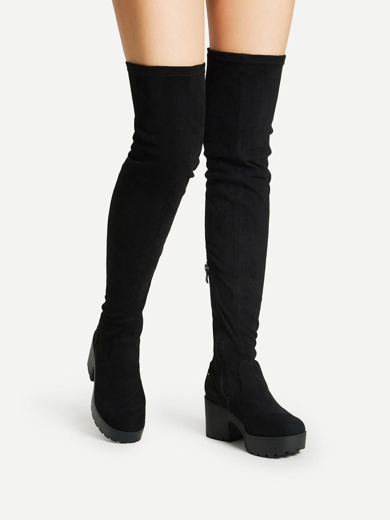 44907e909 Side Zipper Over Knee Platform BootsFor Women-romwe | Costumes ...