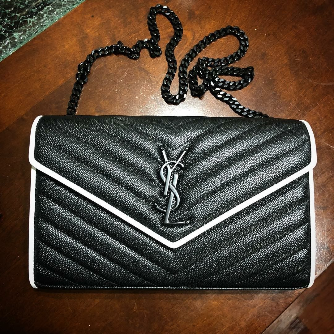 1c83fbe1e8 ... some spectator pumps to rock with this Saint Laurent Women s Monogramme  Contrast Piping Chain Wallet - Noir Blanc.  mystyle  madeitmine  ysl  yslbag