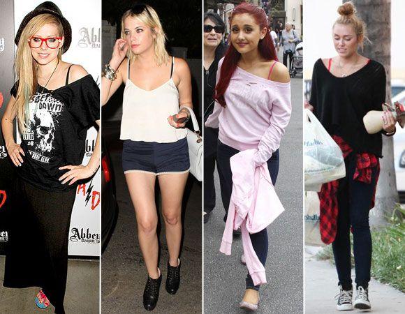 Jeitos de usar - Só a alcinha à mostra Esse é um dos jeitos mais antigos (e fáceis) de deixar a lingerie à mostra. Com blusas que têm um modelo caidinho, a alcinha funciona quase como um acessório. Vale apostar nos modelos estampados ou até contrastar, como alça preta/blusa branca.   Quem usou: Avril Lavigne, Ashley Benson, Ariana Grande e Miley Cyrus