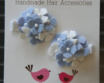 Hydrangea Hair Clips in Blue and White Wool Felt for Baby Toddler and Girls
