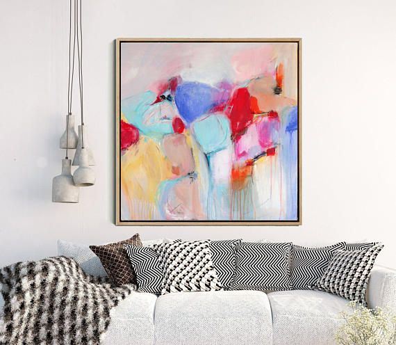 Abstract art print painting large wall giclee colorful modern contemporary decor also rh pinterest