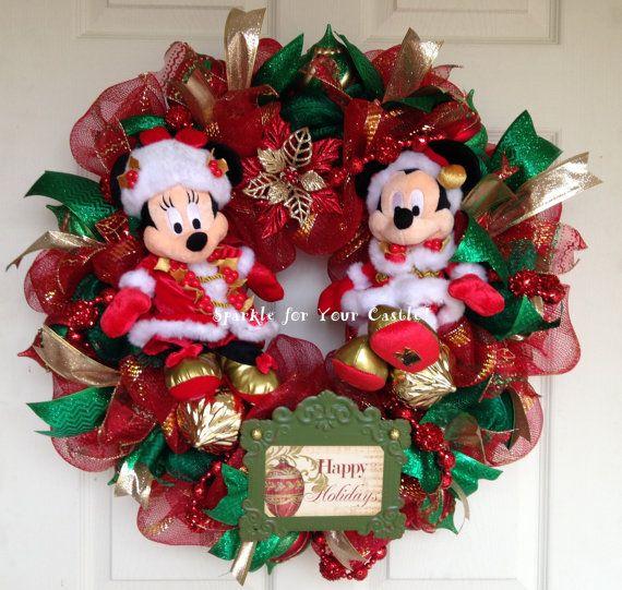Christmas wreath mickey and minnie mouse wreath disney for Adornos navidenos mickey mouse