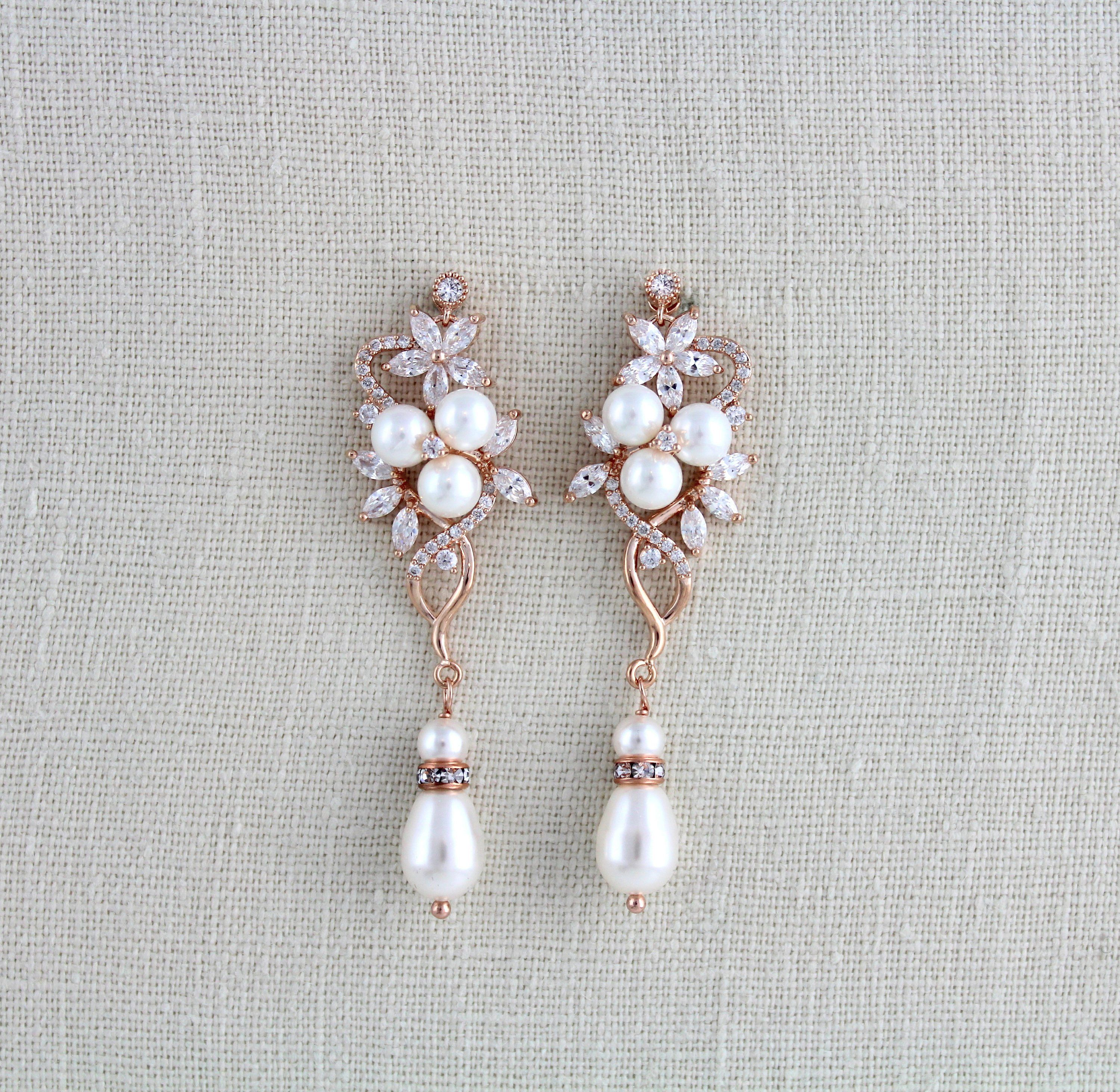 d8be55ef6 Rose Gold Bridal earrings, Pearl Wedding earrings, Long earrings, Bridal  jewelry, CZ earrings, Dangle earrings, Bridesmaid earrings, MIA by  treasures570 on ...