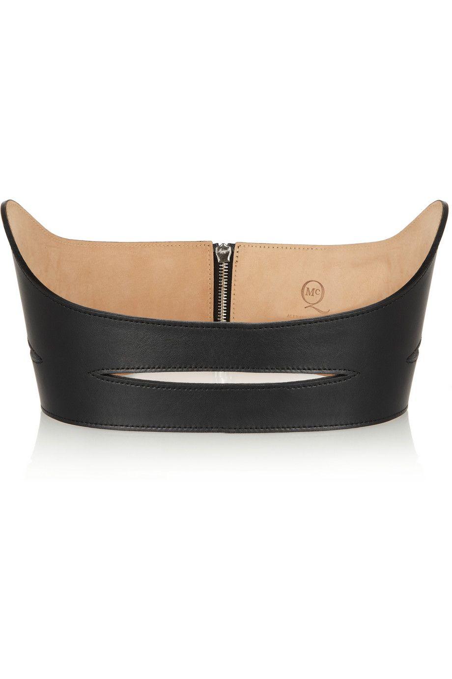 McQ Alexander McQueen   Cutout leather belt    NET-A-PORTER.COM