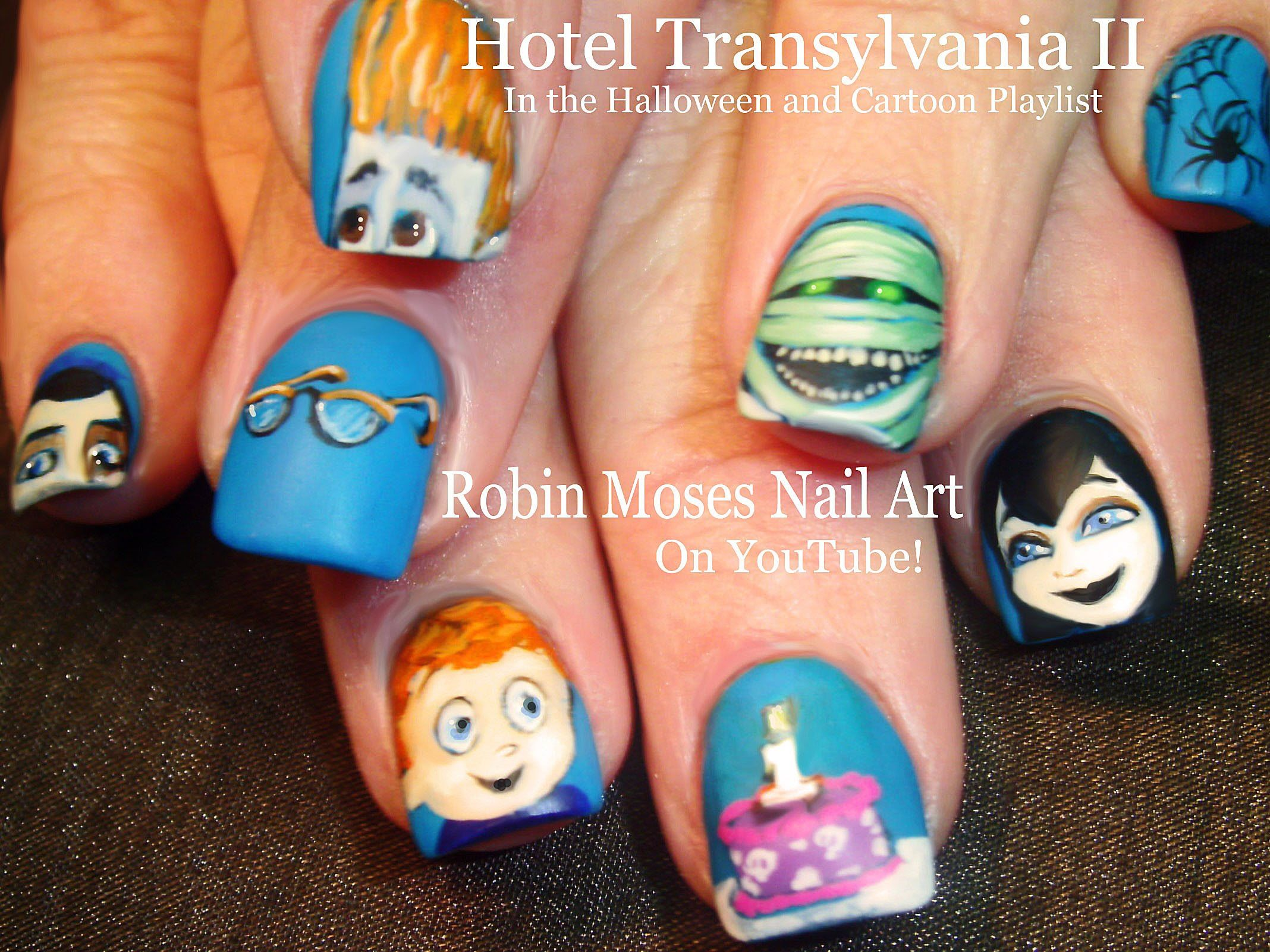 Hotel Transylvania 2! Halloween Nail Art Design Tutorial! | Nails ...