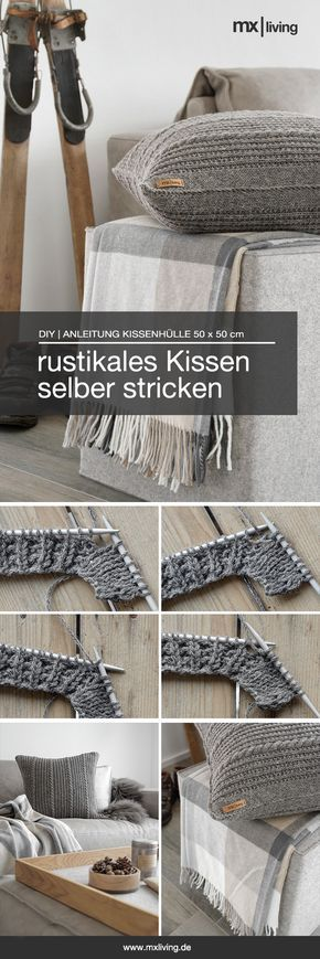 DIY | Strickkissen im rustikalen Alpenchic - mxliving #strickanleitungbaby