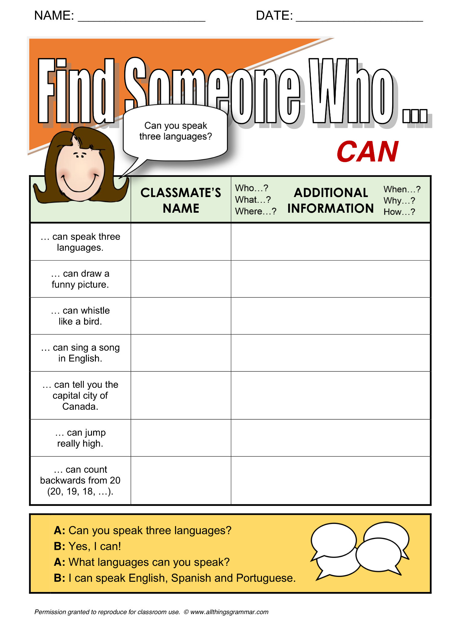 English Grammar Find Someone Who Activity Can Aim
