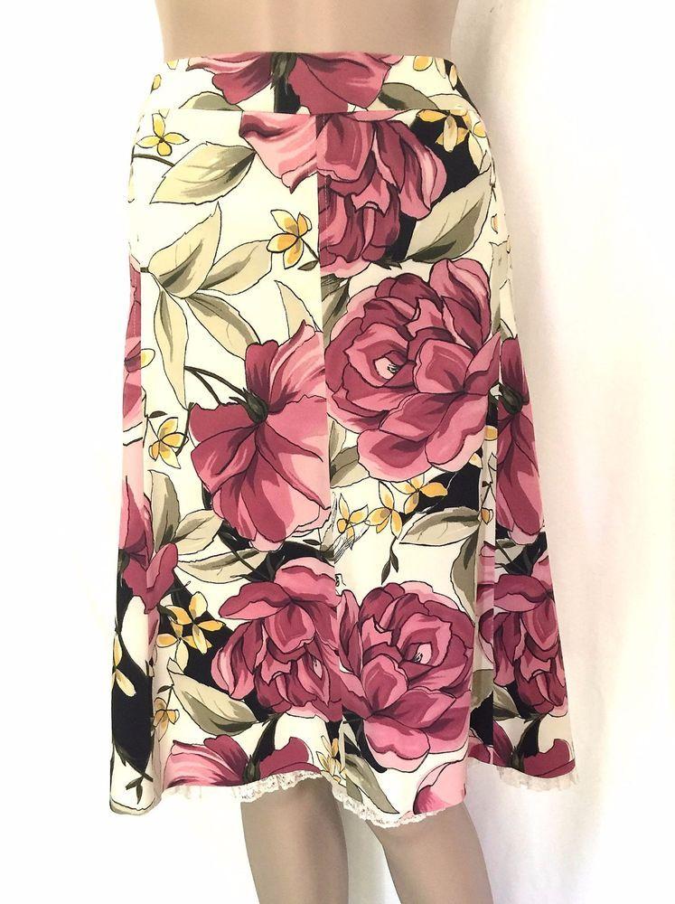 Karen Millen Floral Flared Knee Length Skirt - Size 6 -  EUC #KarenMillen #FlareSkirt