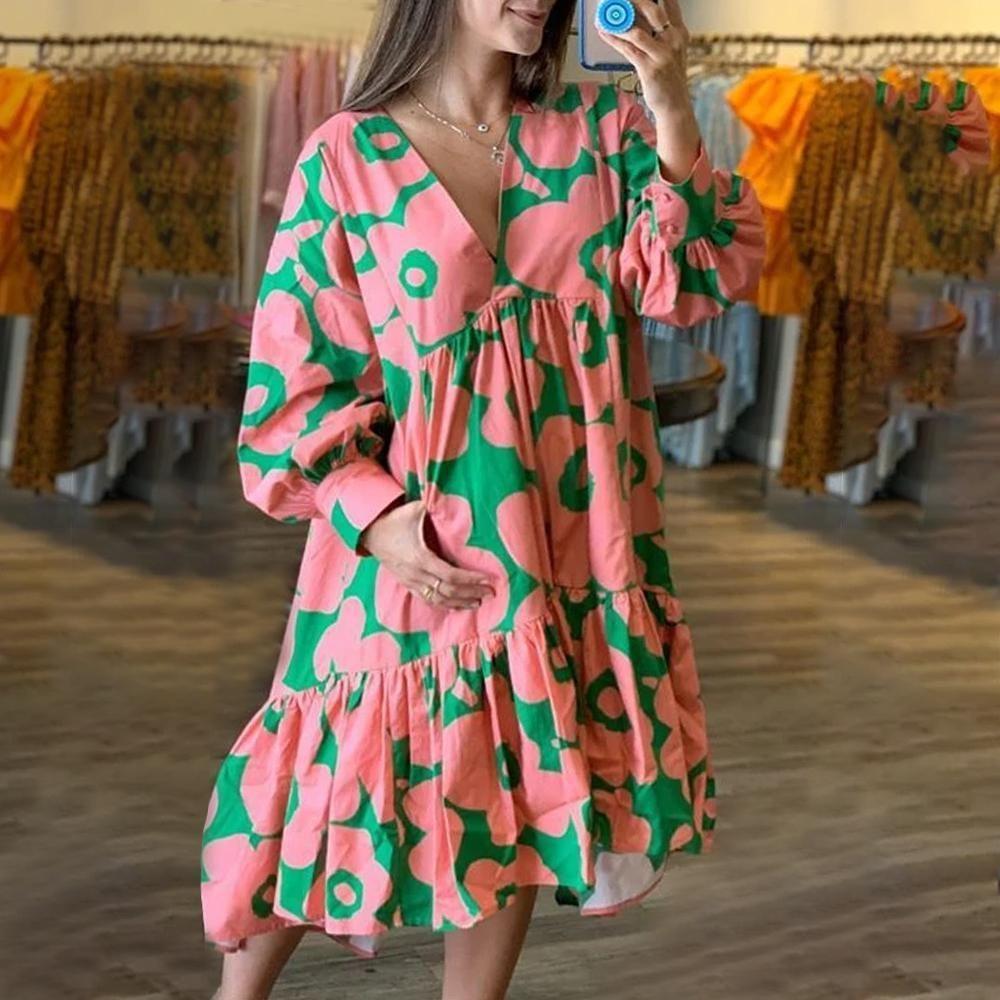 Ezovis Elegant Flora Loose Long Sleeve Ruffle Maxi Dress Ruffled Maxi Dress Long Sleeve Dress Long Sleeve [ 1000 x 1000 Pixel ]