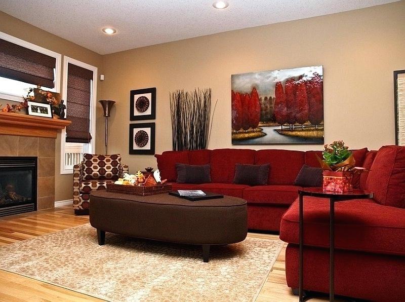 Rot Und Braun Wohnzimmer Braunes Wohnzimmer Rotes Sofa