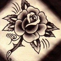 Modele Oldschool D Un Dessin Tatouage Rose Tattooing Pinterest