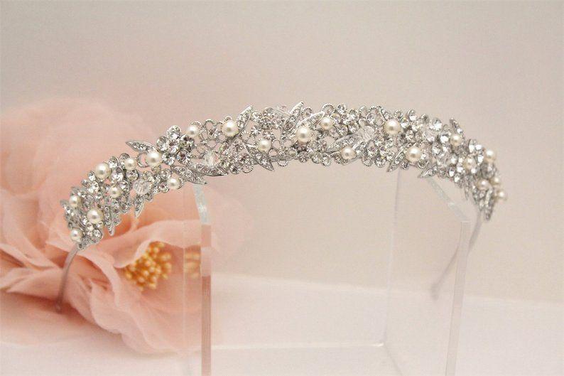 Bridal Tiara Headband Bridal Hair Band Silver Wedding Tiara Etsy Gold Bridal Headband Hair Jewelry Wedding Gold Wedding Tiara