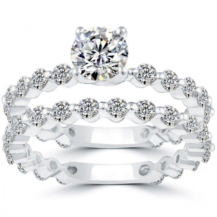 2.55Carat Diamond Engagement /& Wedding Ring Pear Shape Set 14K White Gold Over