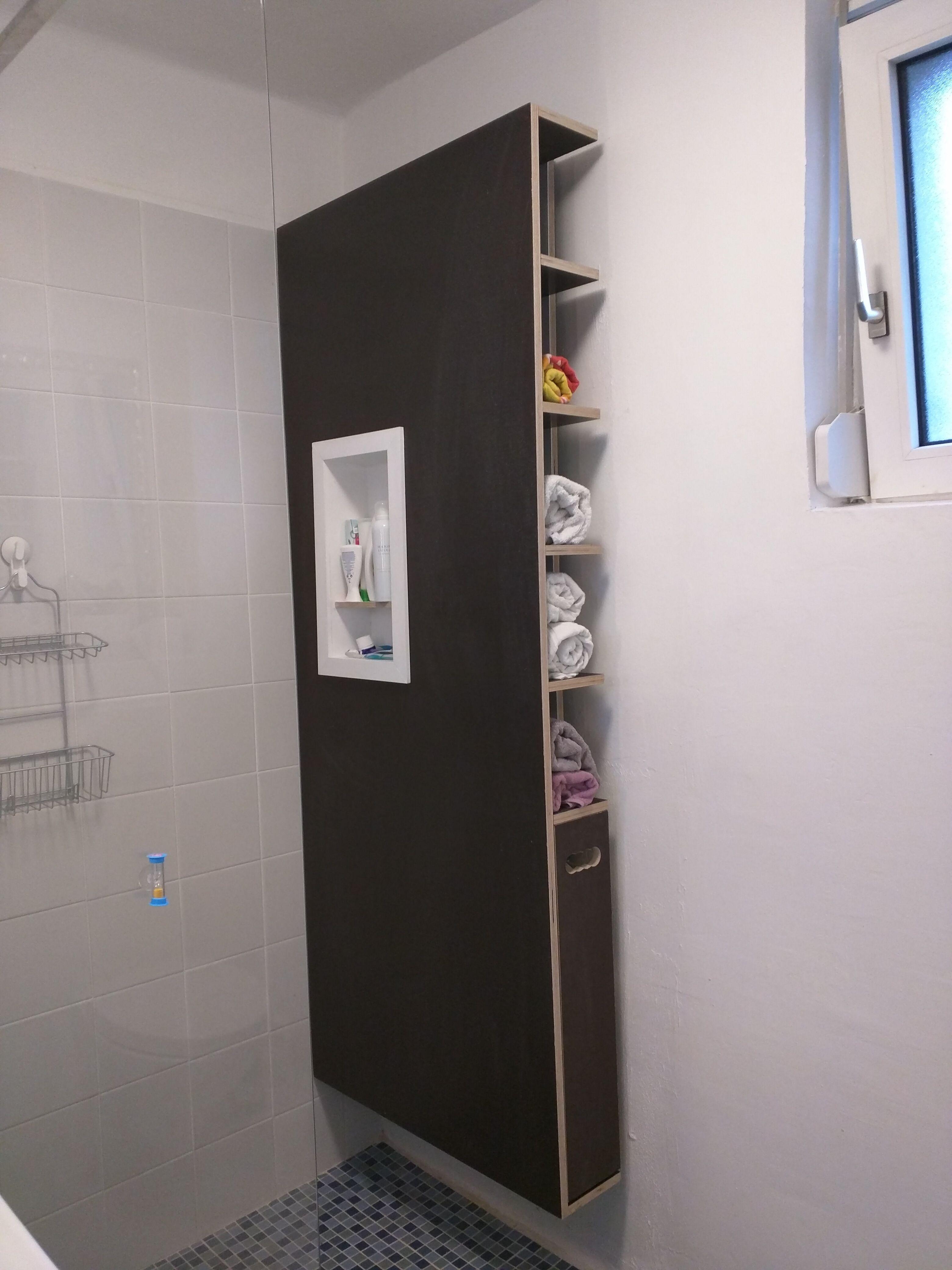 Badmobel Mit Shampoohalter Handtuchregal Und Schublade Siebdruckplatten Fur Feuchtraum Handtuchregal Diy Mobel Badezimmer