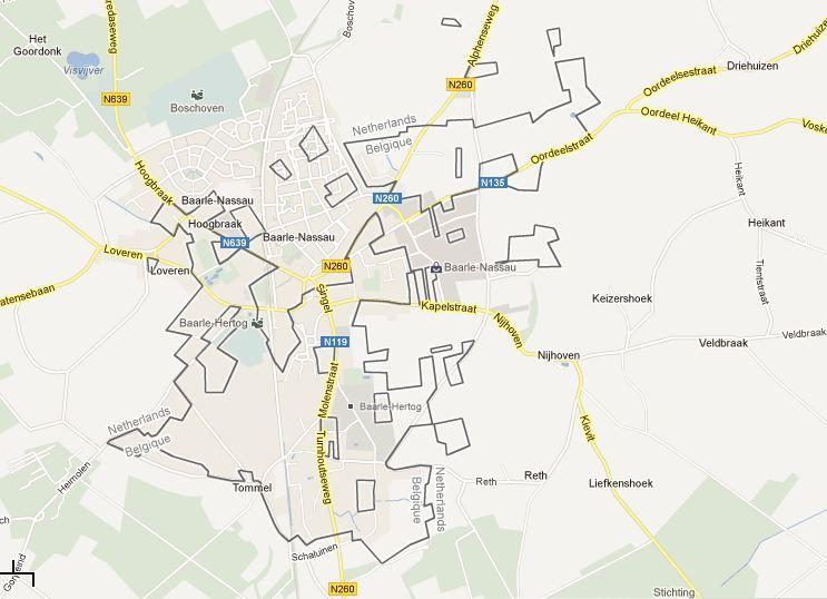 The Netherlandsbelgium border in BaarleNassau determined in the