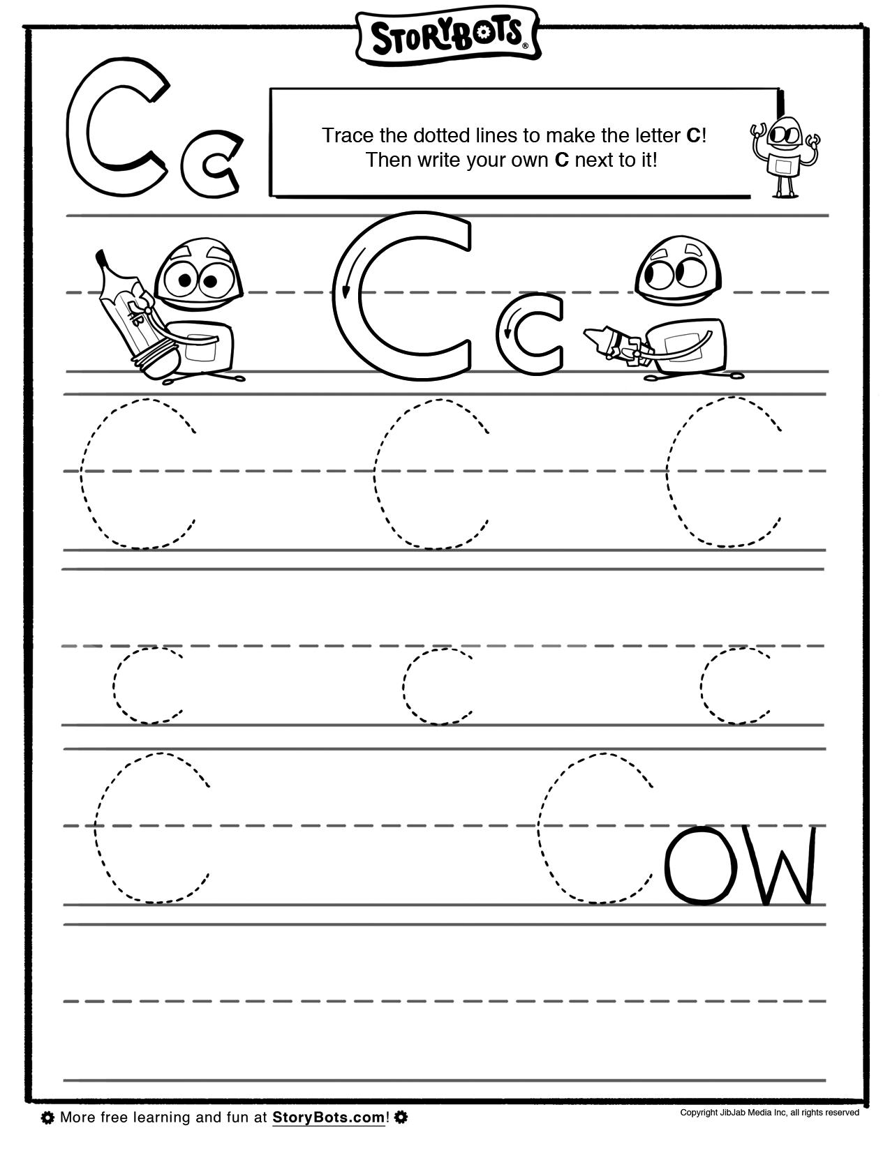 Letter C Tracing Sheet Abc Activity Sheets Storybots Preschool Tracing Kindergarten Worksheets Kindergarten Math Worksheets [ 1650 x 1275 Pixel ]