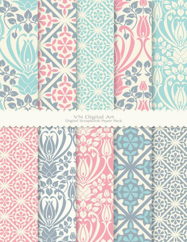 Antique Pattern Digital Scrapbook Paper Pack 85x11 300 Dpi 10