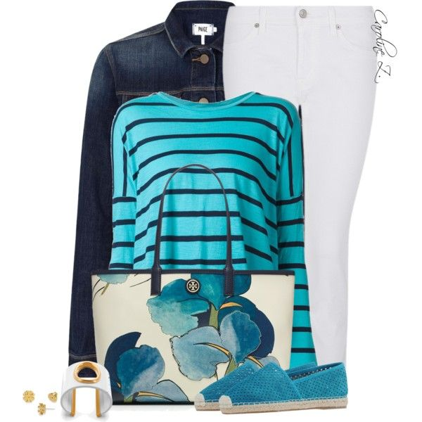 Turquoise by carolinez1 on Polyvore featuring Velvet, Paige Denim, 7 For All Mankind, Tory Burch and Casadei