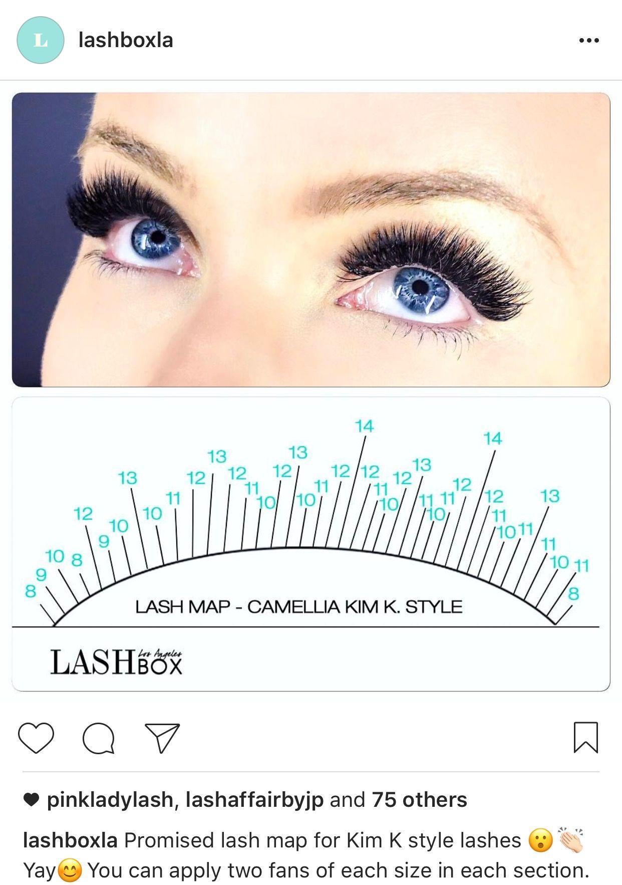 Kim K pattern for lash extensions by LashBoxLA | eyelashes