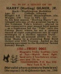 1948 Bowman #99 Harry Gilmer Back