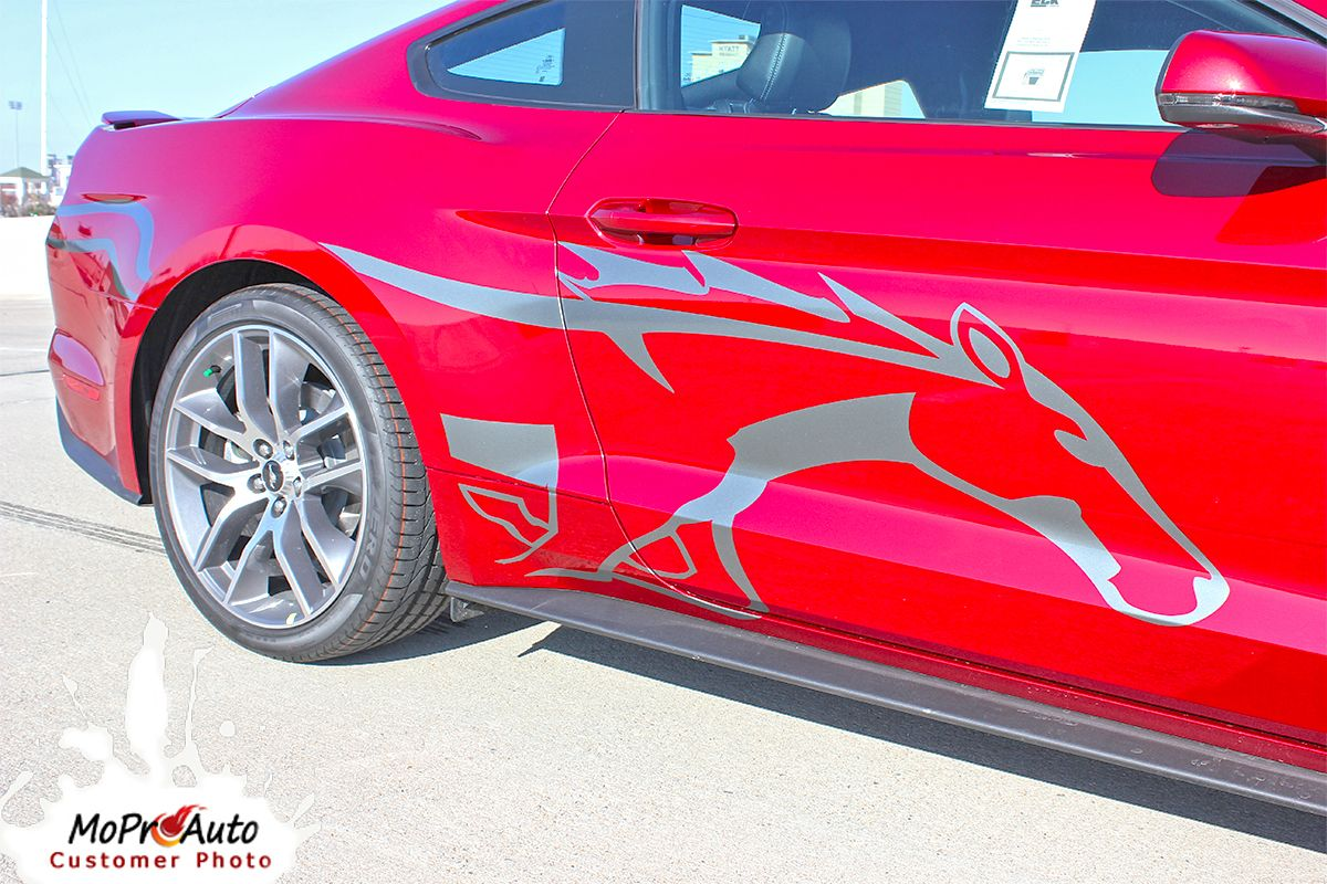 Steed 2017 Ford Mustang Pony Horse Side Vinyl Graphic Decals Stripes Package Moproauto