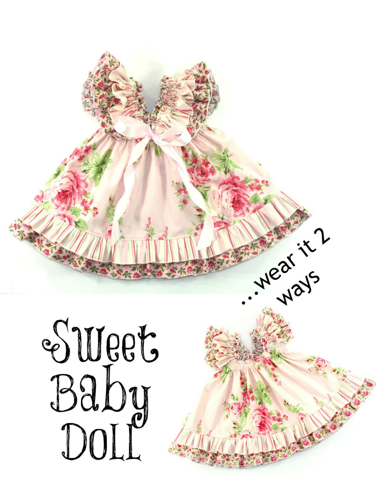 Sweet Baby Doll Dress PDF Sewing Pattern with its two layered ruffle ...