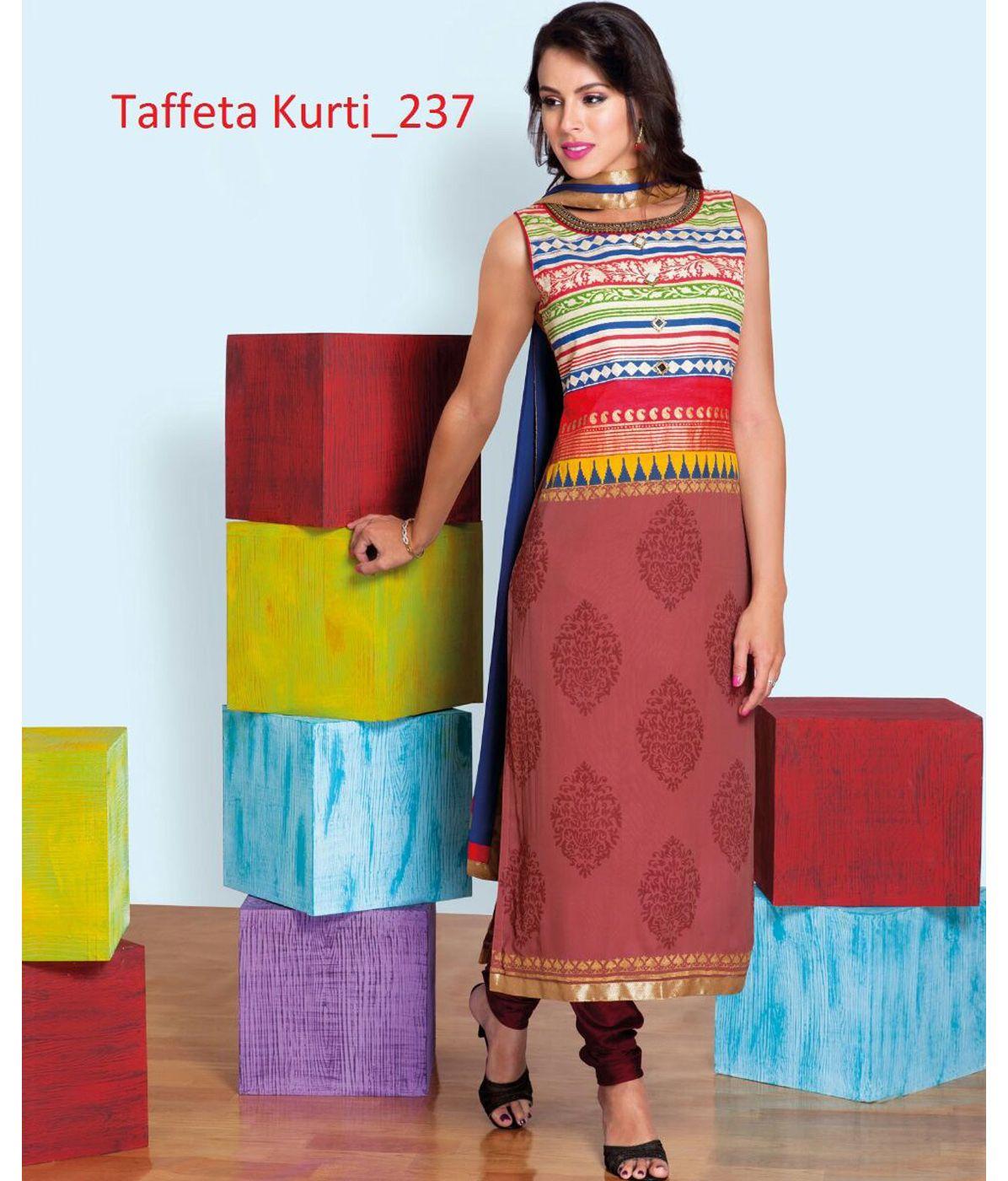 9d133ba373 Desire Brown Color Taffeta Silk Kurti With Digital Print