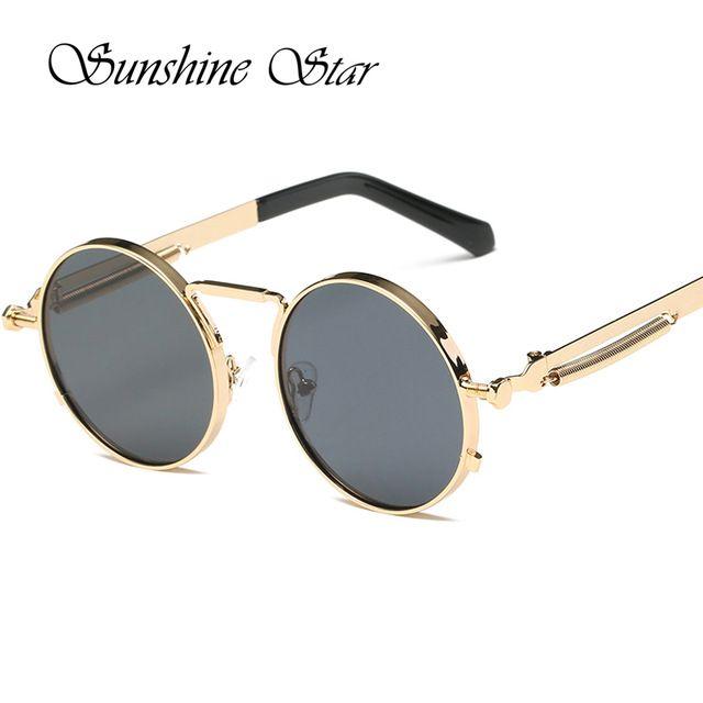 Pop Edad Más Nuevo Estilo Steampunk gafas de Sol Hombres Recubrimiento  Espejo Redondo Mujeres gafas de Sol Vintage gafas de sol Lunettes 400UV d2ba68f5c951