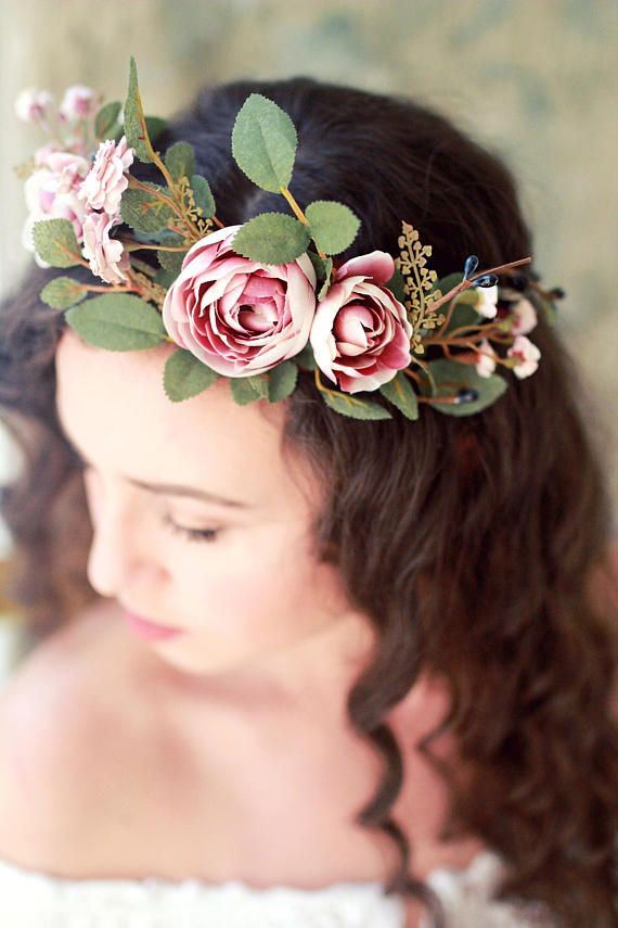 Blush Bridal Crown Fall Wedding Headpiece Mauve Flower Etsy Autumn Bridal Flower Crown Bride Bridal Crown