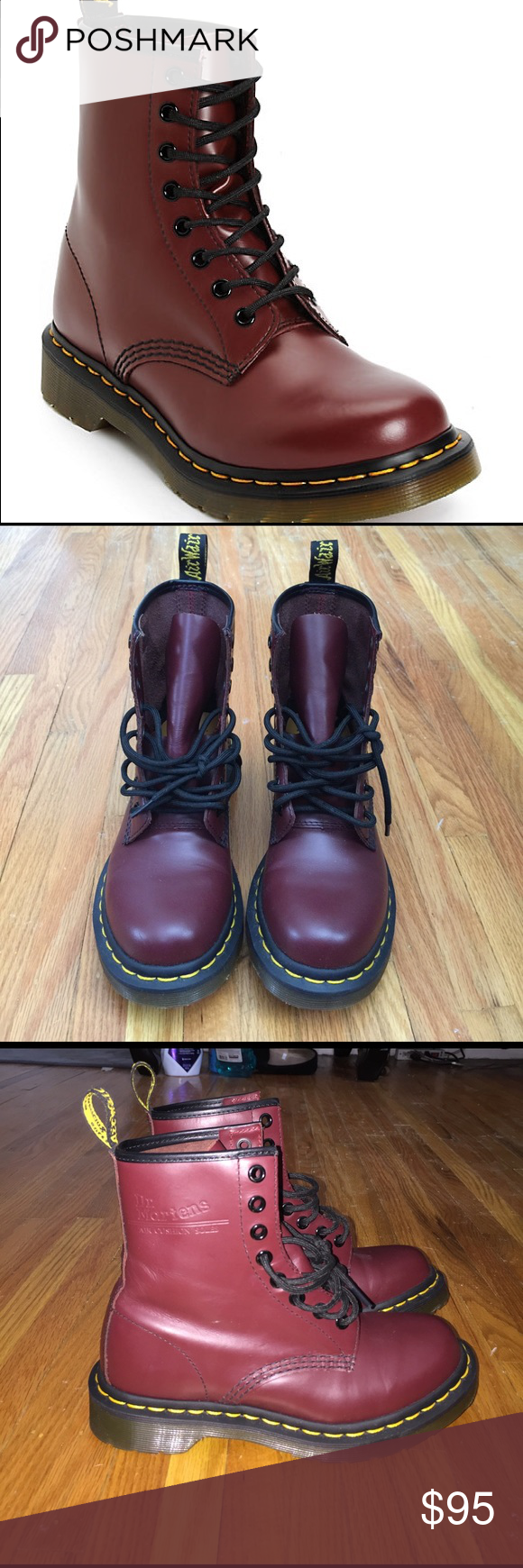 🎉Red 1460 Smooth Doc Martens🎉 Size 5 doc marten combat boots. Only wore around the house while trying to break in. Selling because I'm going on vacation and already have black so I'd rather use some money. Never worn outside! Dr. Martens Shoes Combat & Moto Boots