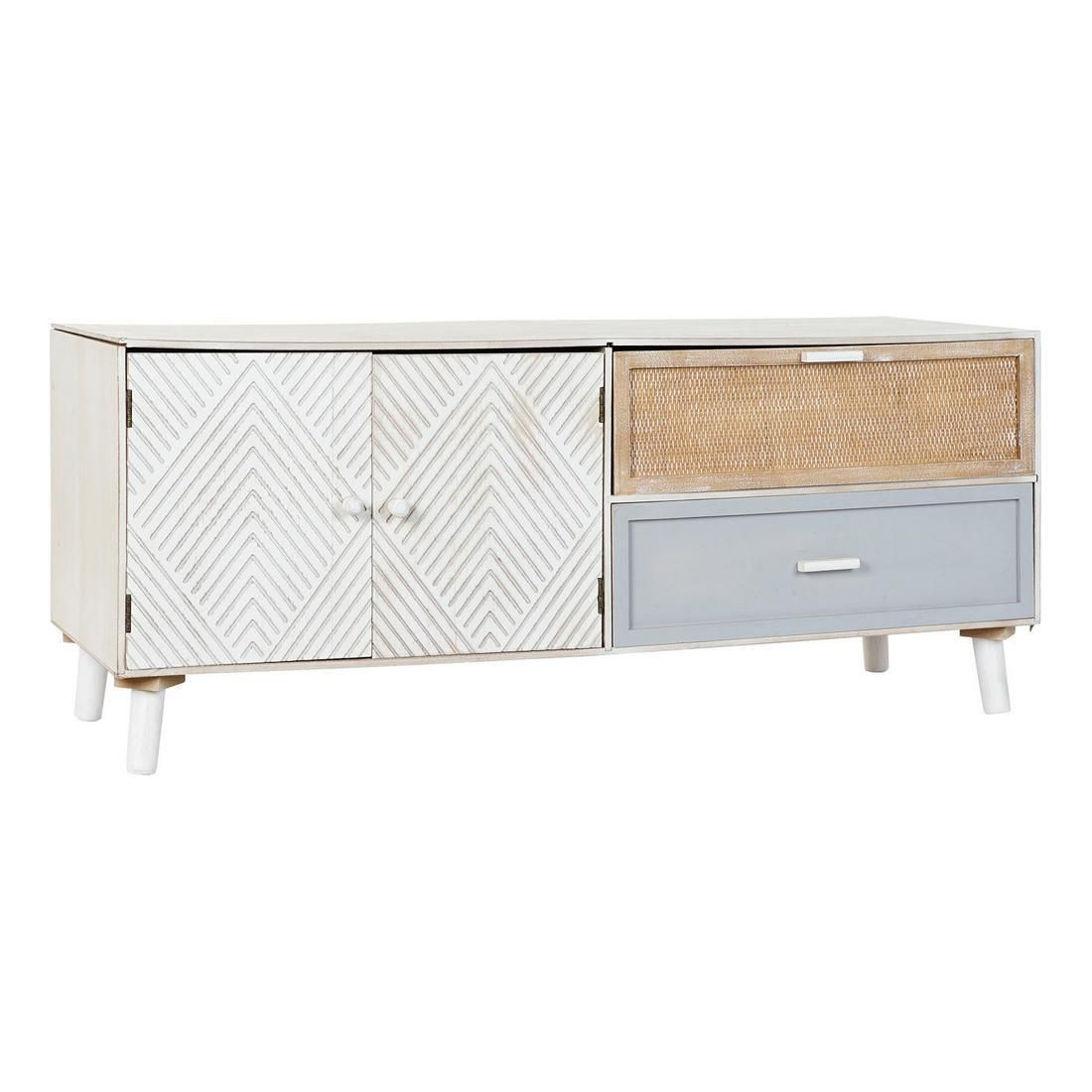 TV furniture DKD Home Decor White Grey Wood (120 x 40 x 50 c…
