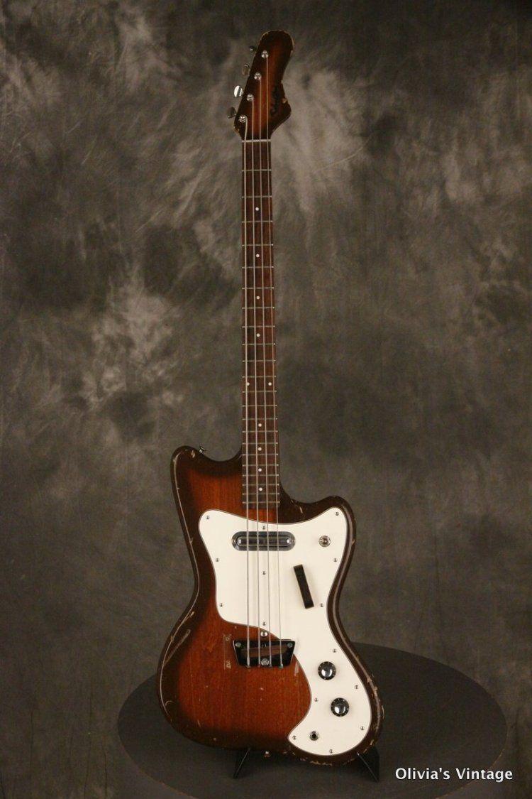 1960s Silvertone Bass Model 1442l Slimline Brown Burst Guitar Vintage Guitars Bass