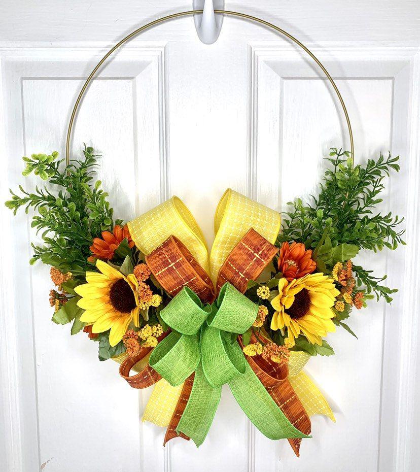Photo of Hoop Wreath, Sunflower Hoop Wreath, Summer Hoop Wreath, Fall Fall Hoop Wreath, Ring Wreath