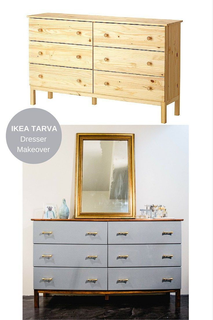 Dresser Makeover: Ikea Tarva 6 Drawer Gets A Mid Century Look! Grey Drawers  With Dark Walnut Body, Decorated With Retro, Brass Handles.
