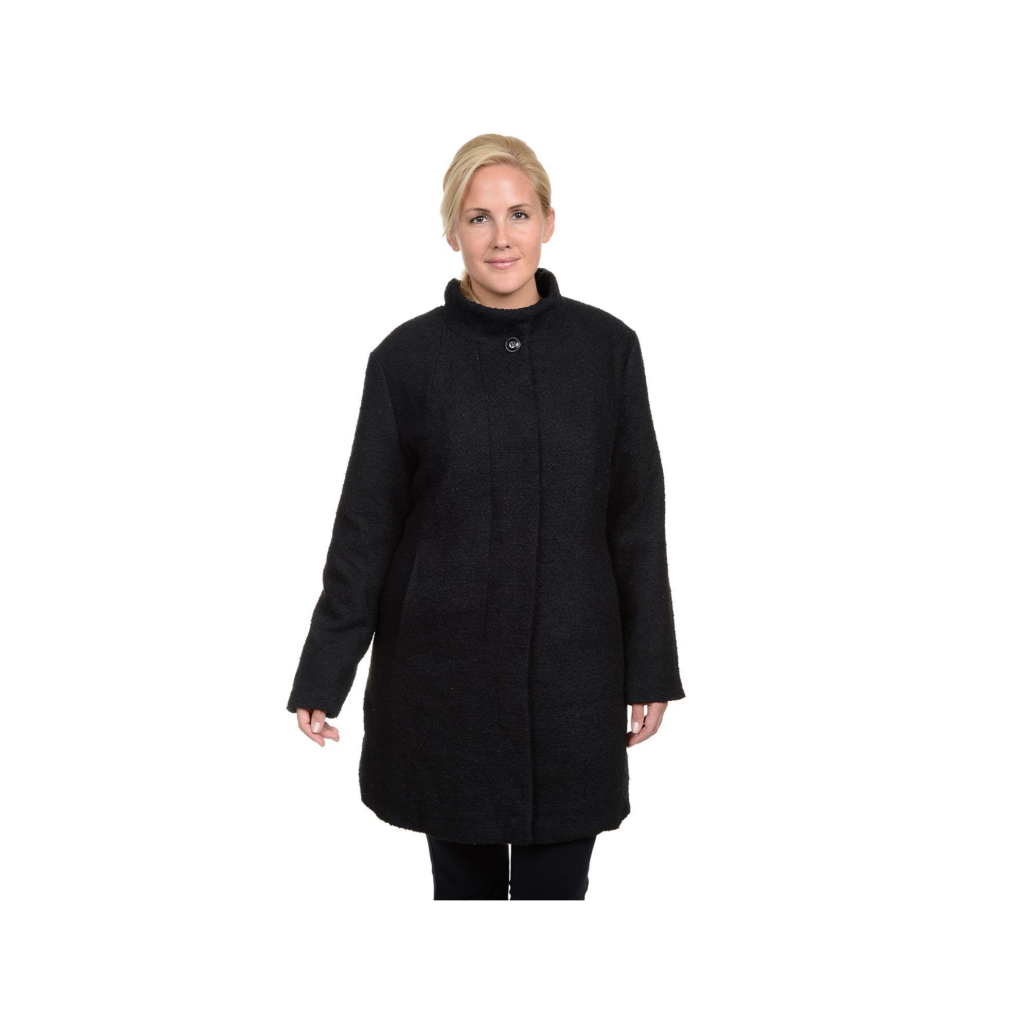 Black · Excelled Boucle Faux-Wool Coat ...