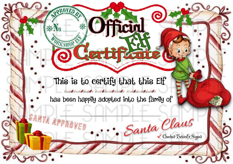 ELF Shelf & Rudolph Reindeer Adoption Certificate Digital