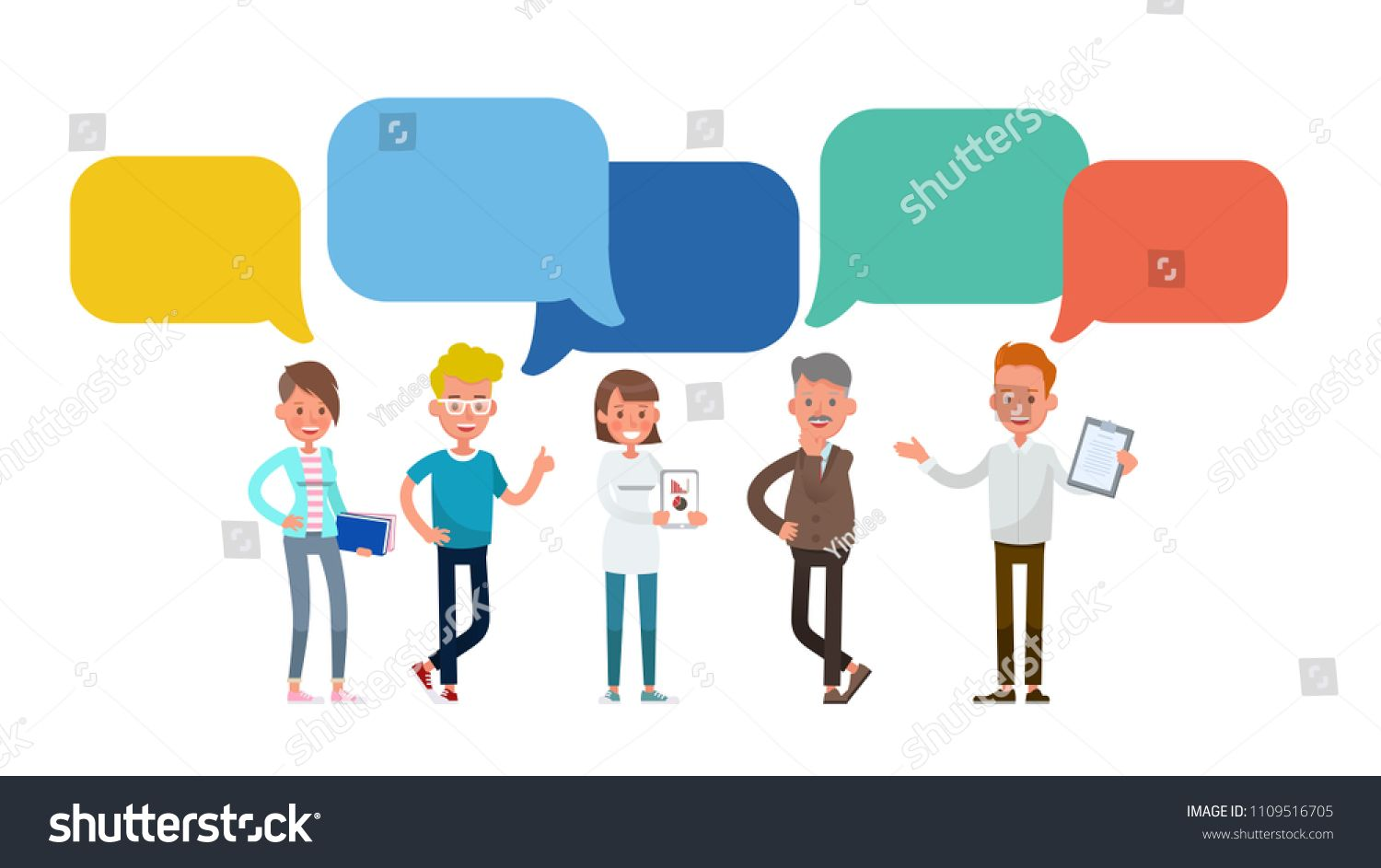 Business People With Chat Bubbles Character Vector Design For