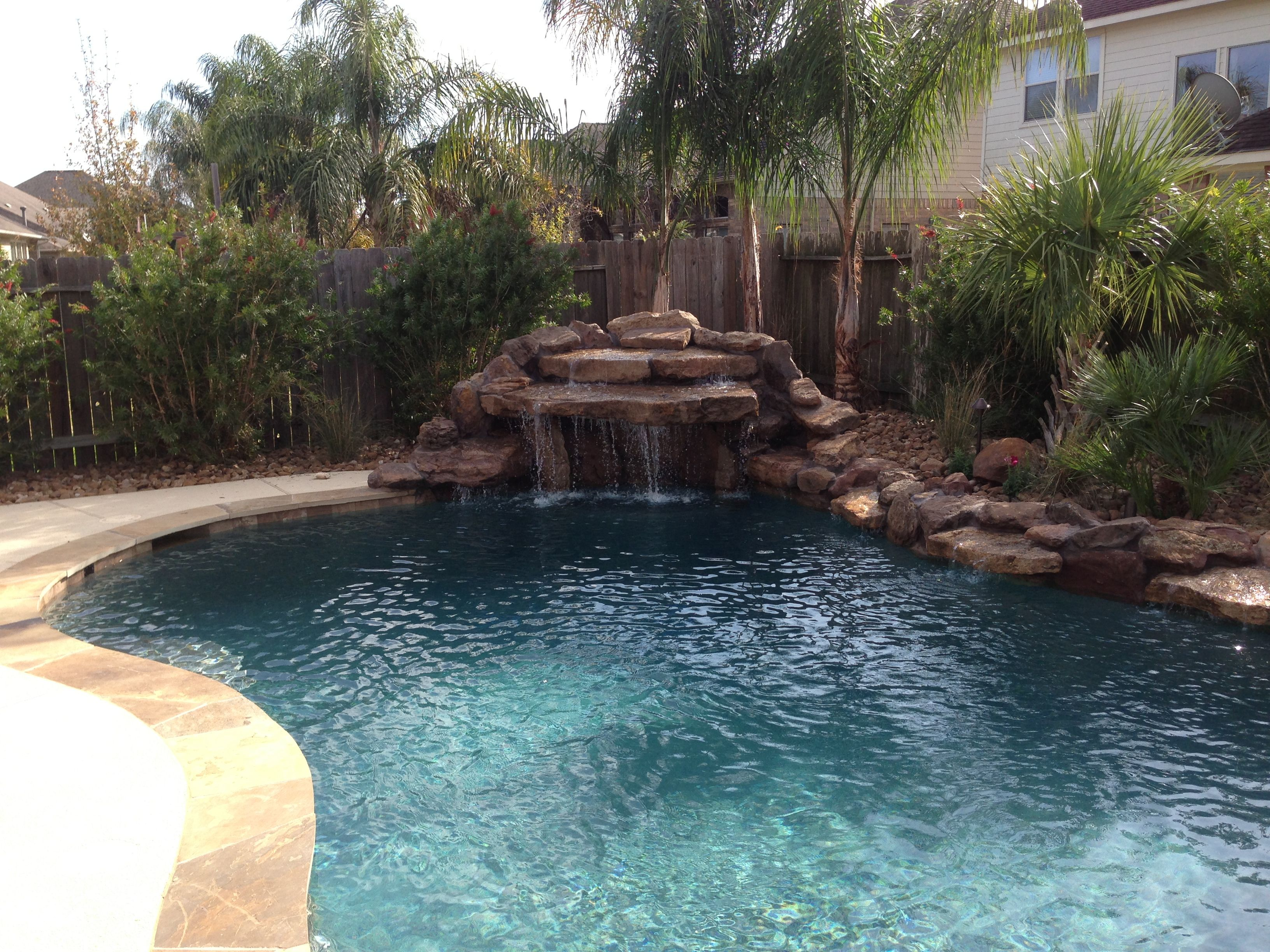 Water Feature Photos Pearland Friendswood Waterfalls League City Chocolate Moss Rock Waterfall Pool Waterfall Water Features Pool