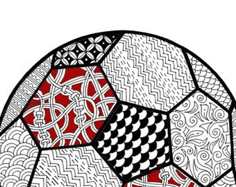 Adult coloring page, football coloring page for adults,soccer ball ...