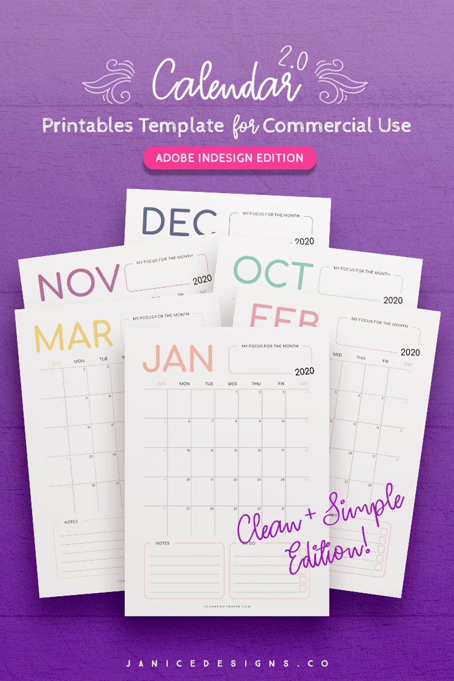 2020 Calendar InDesign Template for Commercial Use in 2020