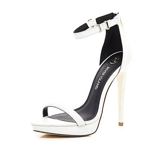 White Barely There Heels