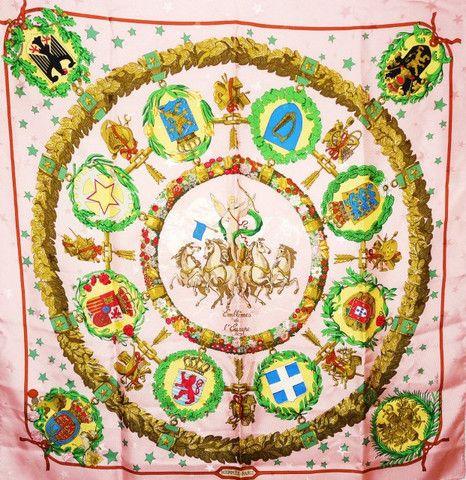 Authentic Vintage Hermes Silk Jacquard Scarf Emblemes de l'Europe