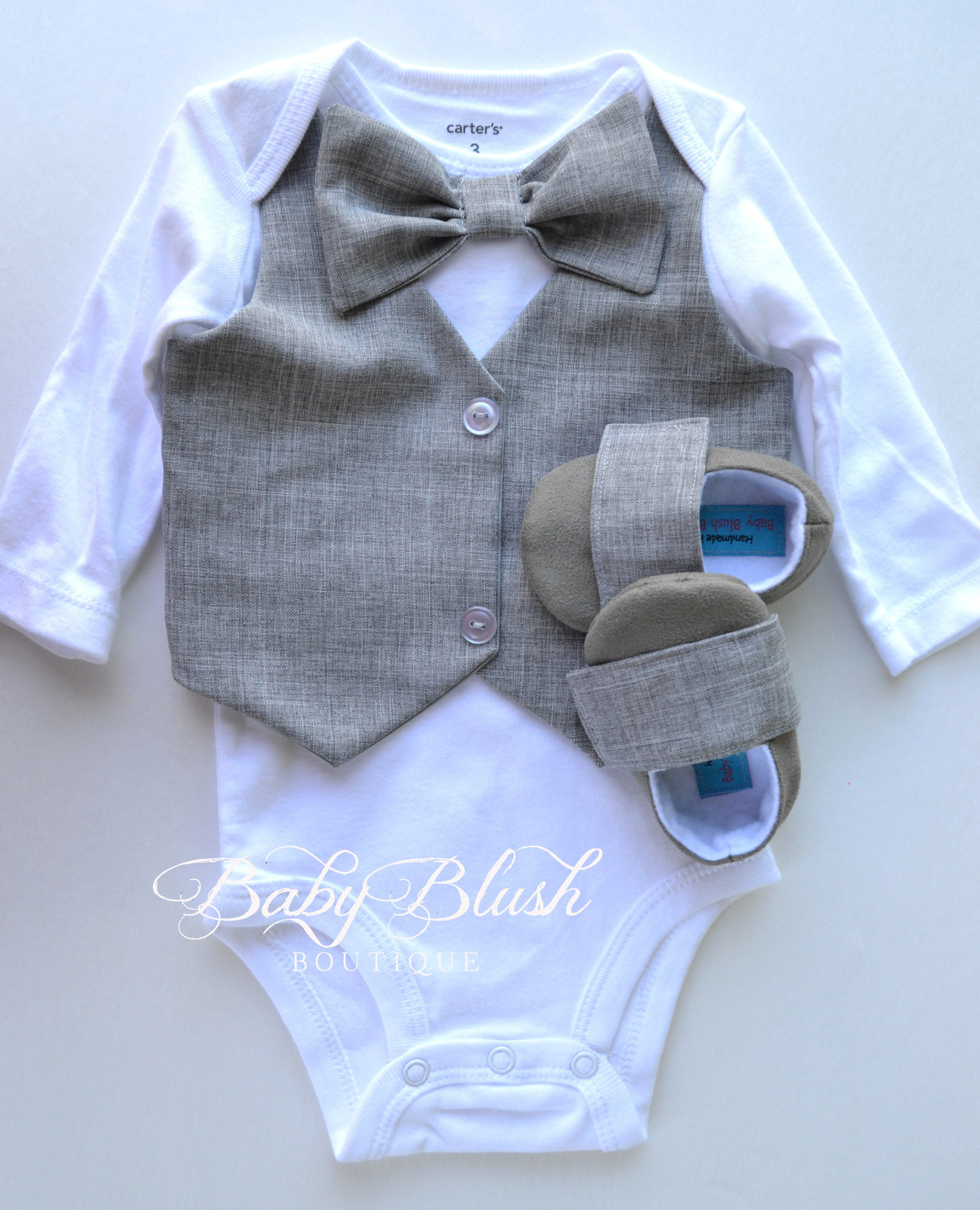1b629b3a8a7f Grey Vest Onesie Bow tie Baby Boy Outfit Photo Prop Matching Sho ...