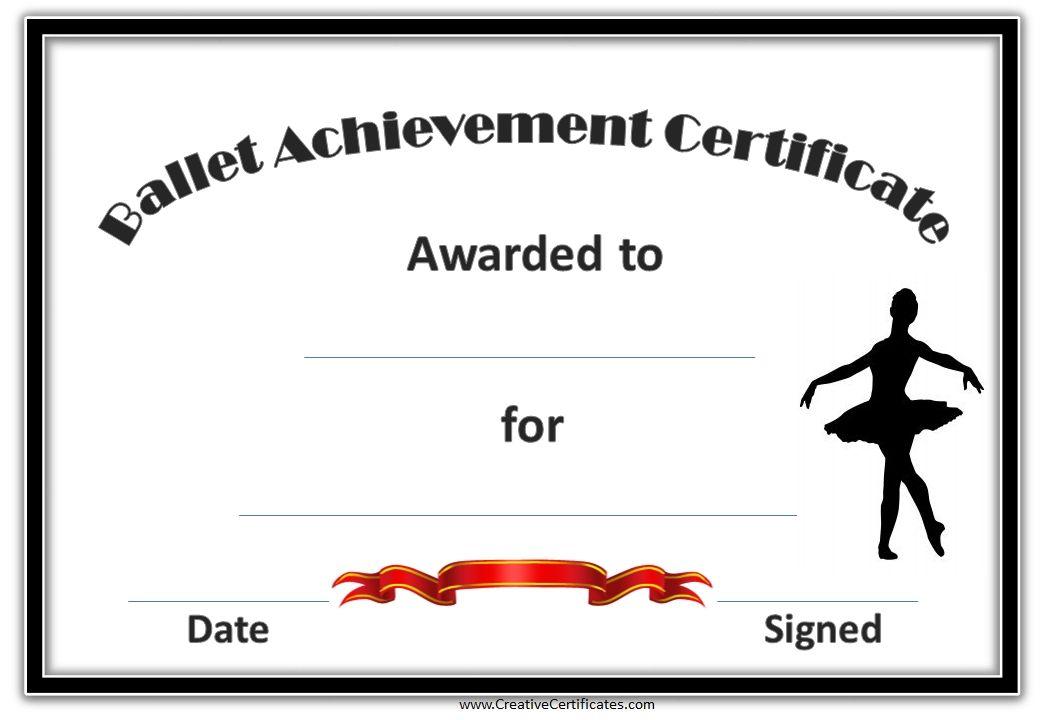 Dance certificate template ballet kids class pinterest dance certificate template yadclub Image collections