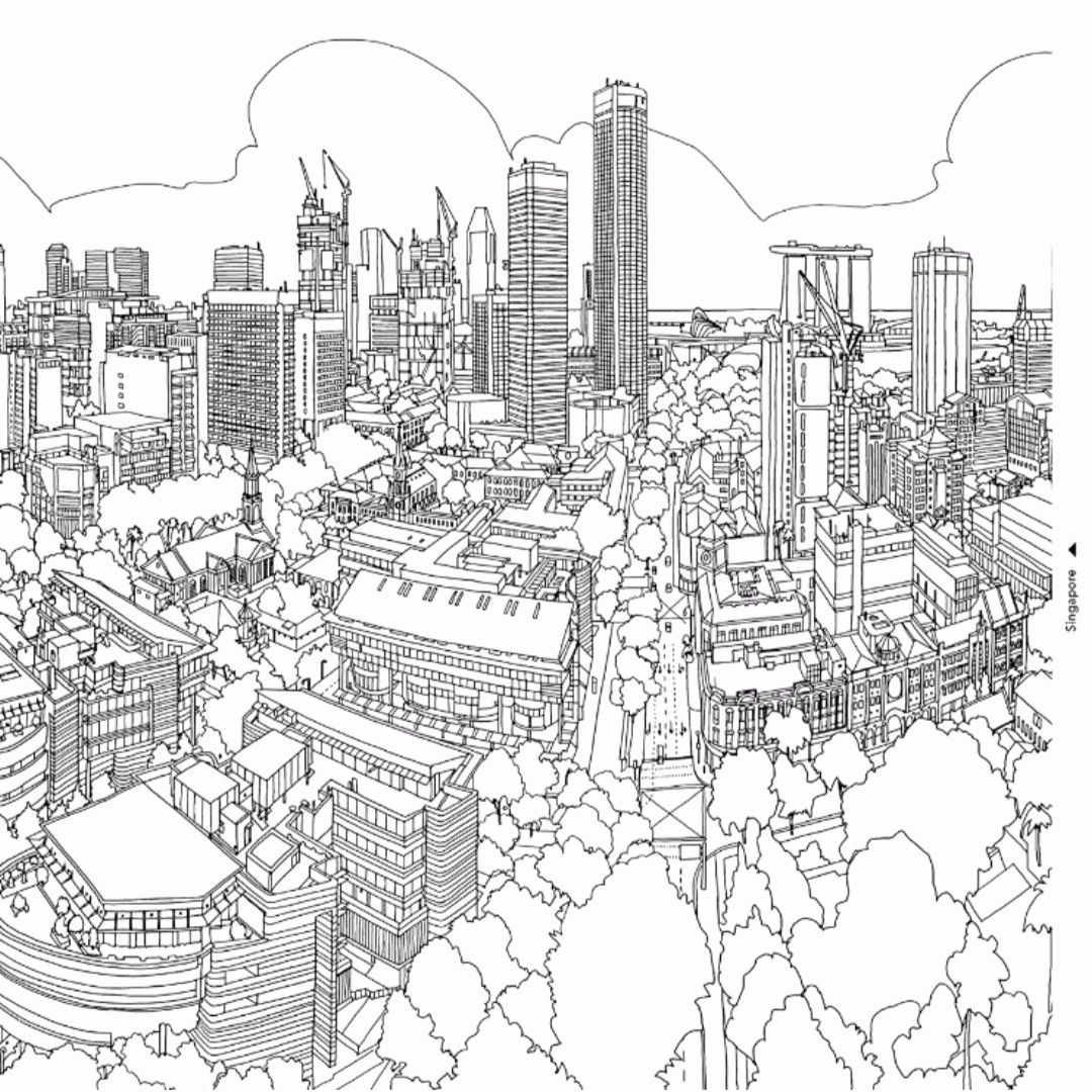 City Skyline Coloring Pages Lovely Cityscape Coloring Page Vapha Kaptanband In 2020 Fantastic Cities Coloring Book Coloring Pages Coloring Books