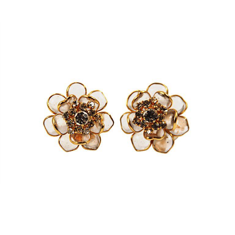 Chanel Gripoix Camellia Rhinestone Ear Clips Chanel Jewelry Vintage Jewelry Antique Earrings
