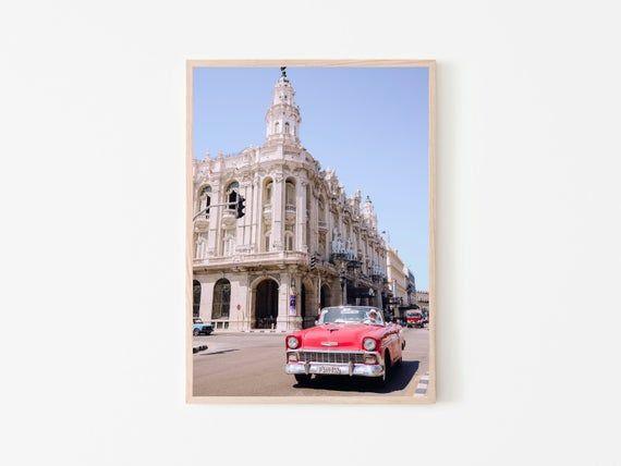 Havana Wall Print, Cuba, Downtown, Classic Car, Pink, City, Living Room, Wall Decor, Boho, Landscape, Photography, Wall Art, Poster