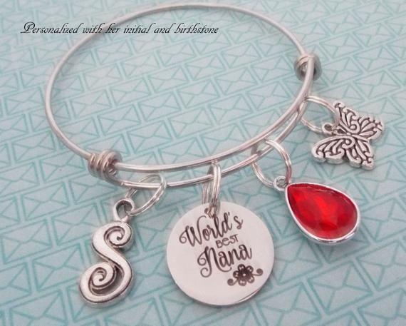 bd5834e97 Nana Gift Charm Bracelet, Personalized Gift, Grandmother Birthday,  Grandchild Gift for Nana, Mother's Day Gift, Birthstone Gift, Butterfly